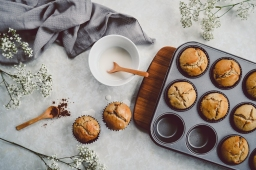 Spiced apple muffins with vanilla cinnamon glacé icing